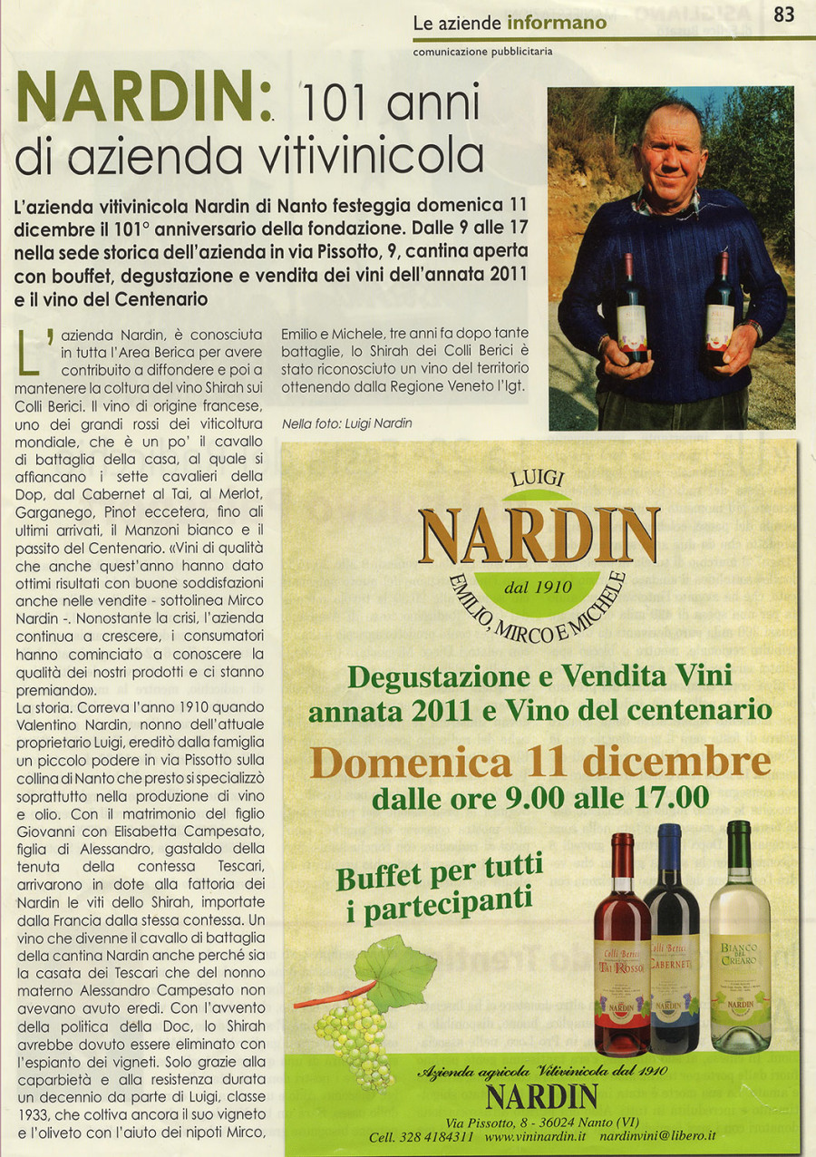 101 anni di Azienda Vitivinicola Nardin